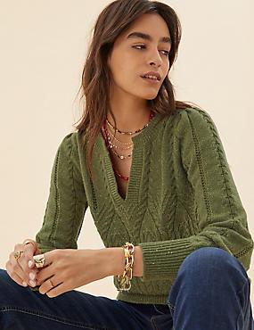 Pull à col en V et maille torsadée en coton avec laine