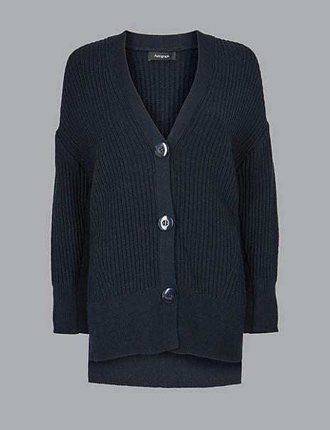 Oversized Pure Cotton Textured Cardigan