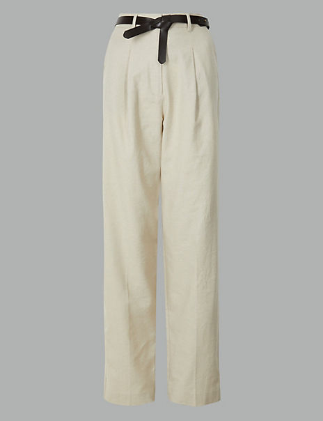 Linen Blend Trousers with Leather Belt