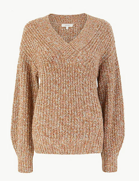 Textured V Neck Relaxed Fit Jumper