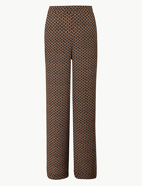 Geometric Print Wide Leg Trousers