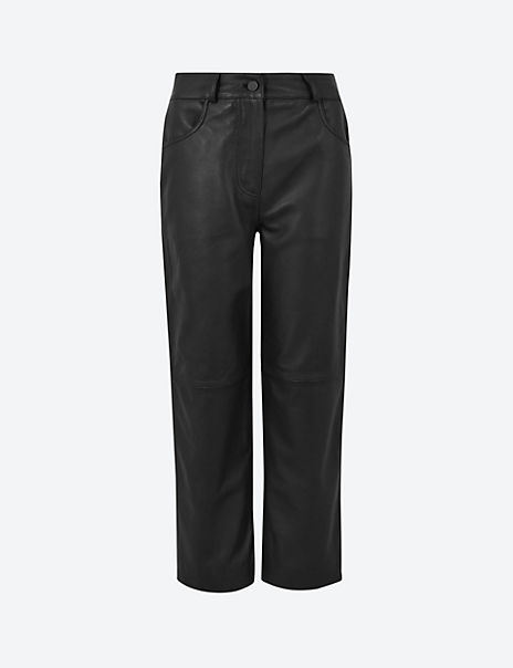 Leather Cropped Straight Trousers