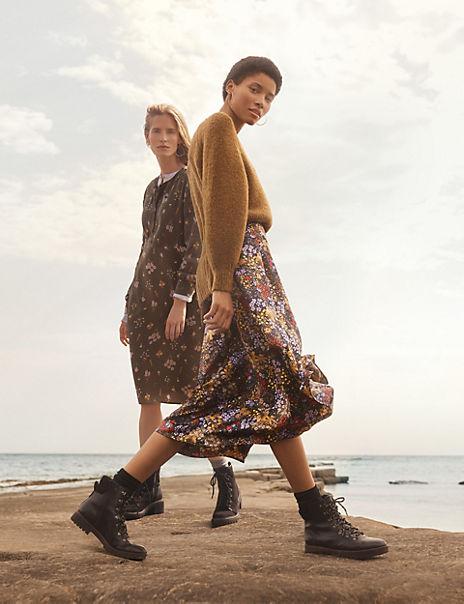 Satin Floral Print Wrap Midi Skirt