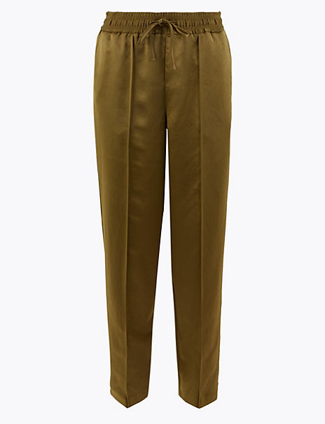 Satin Slim Leg Ankle Grazer Trousers