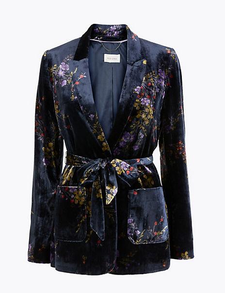 Floral Velvet Belted Blazer