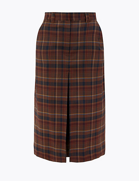 Wool Blend Checked A-Line Midi Skirt