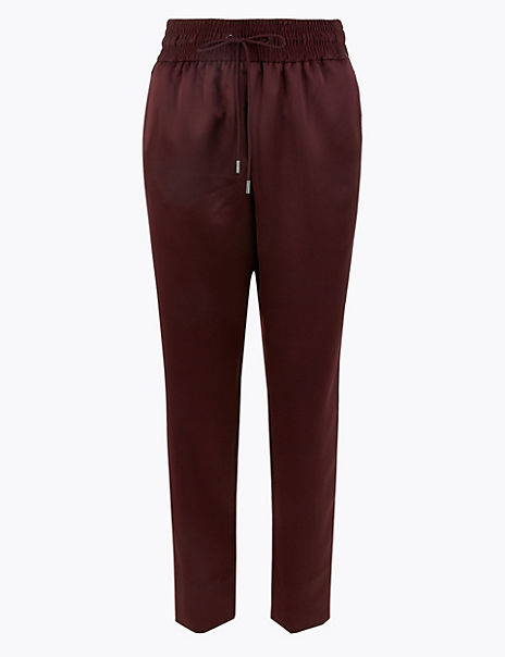 Satin Tapered Leg Ankle Grazer Joggers