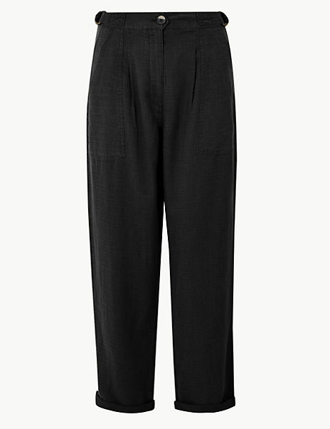 Linen Blend Ankle Grazer Peg Trousers