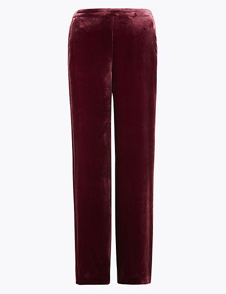 Velvet Straight Leg Trousers with Silk