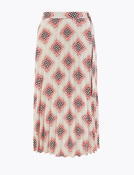Printed Fit & Flare Midi Skirt