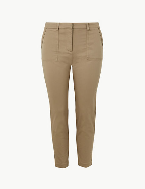 Cotton Rich Slim Leg Trousers