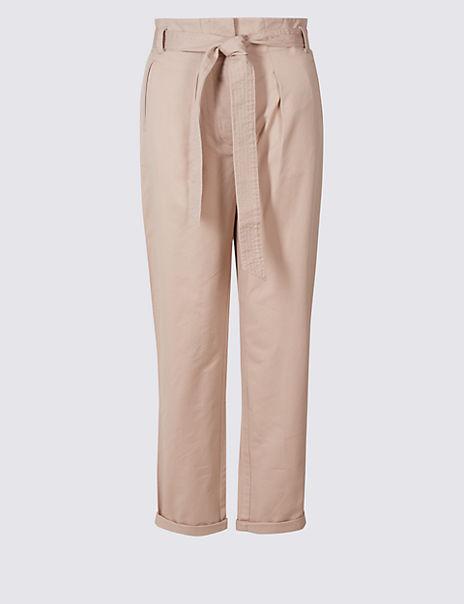Pure Cotton Tie Waist Straight Leg Trousers