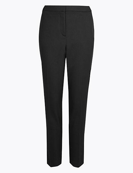 Double Crepe Slim Leg Trousers