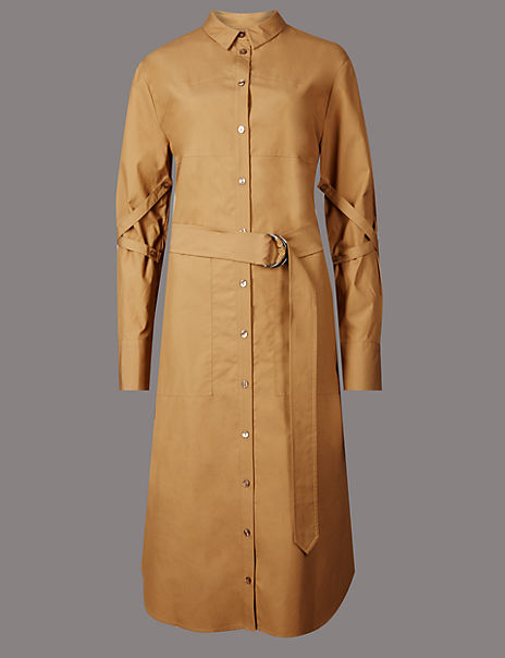 Pure Cotton Belted Long Sleeve Shirt Dress