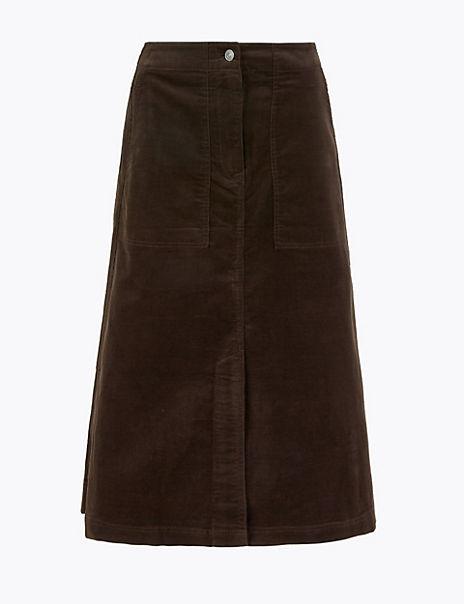Needlecord A-Line Midi Skirt