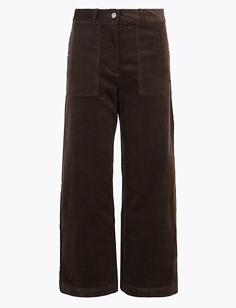 Corduroy Wide Leg Cropped Trousers