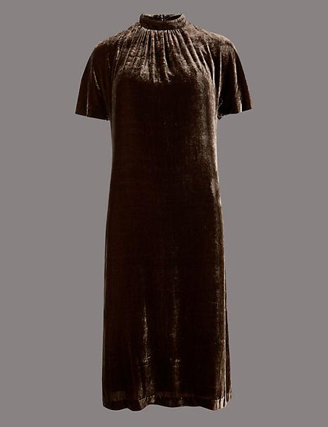 Velvet Short Sleeve Shift Dress with Silk