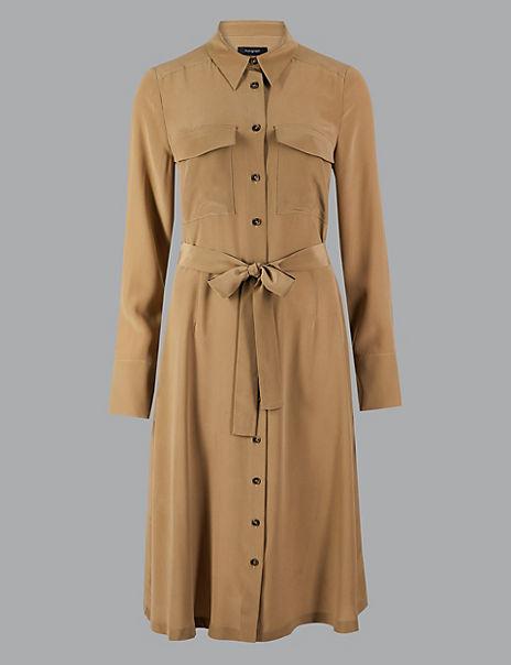 Pure Silk Patch Pocket Shirt Midi Dress