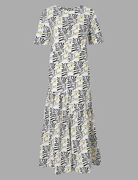 Leaf Print Relaxed Midi Dress