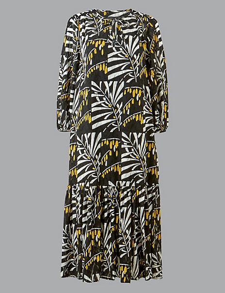 Leaf Print 3/4 Sleeve Relaxed Midi Dress