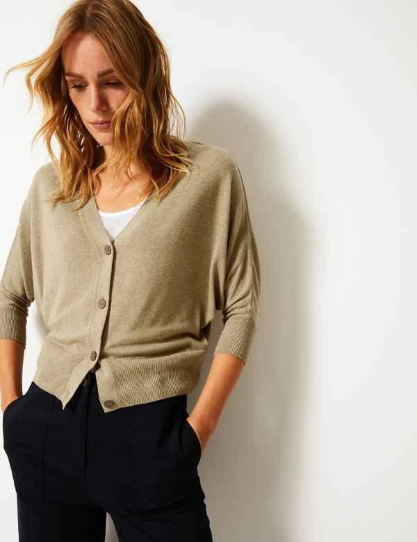 615220129f2 Textured V-Neck Cardigan with Linen