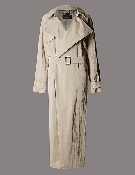 Belted Crinkled Maxi Trench Coat with Stormwear™