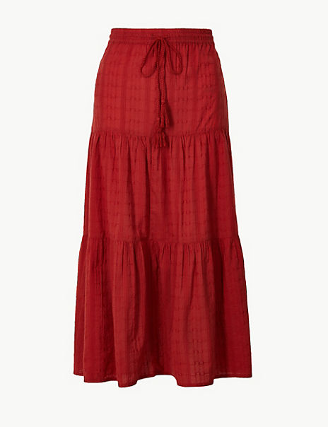 Pure Cotton Tiered Maxi Skirt