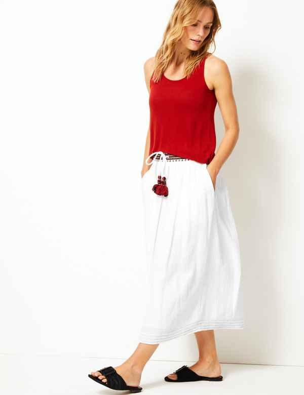 201d863af8 Pure Cotton A-Line Midi Skirt