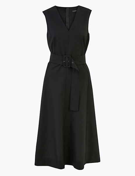 Wool Blend Belted Fit & Flare Midi Dress