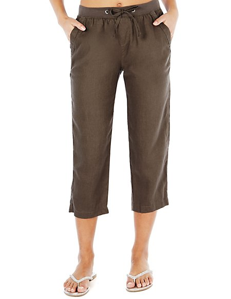 Pure Linen Cropped Beach Trousers