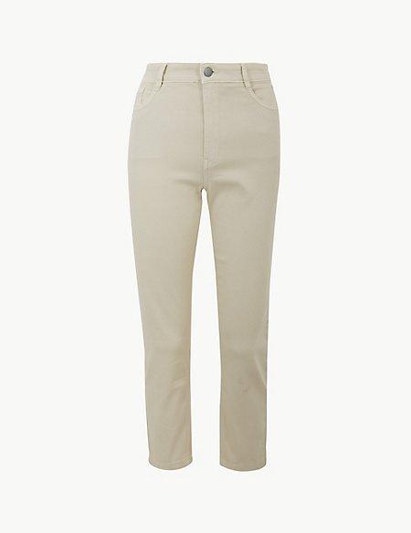 High Waist Slim Cropped Jeans