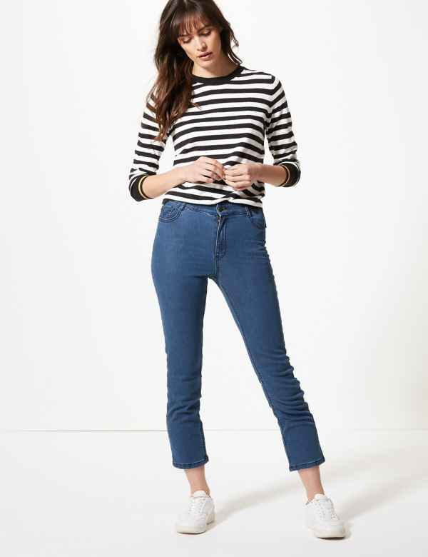 7f5c0104b87 High Waist Straight Cropped Jeans