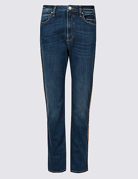 Stripe Trim Mid Rise Slim Leg Jeans