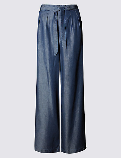 Denim Wide Leg Belted Trousers Clothing
