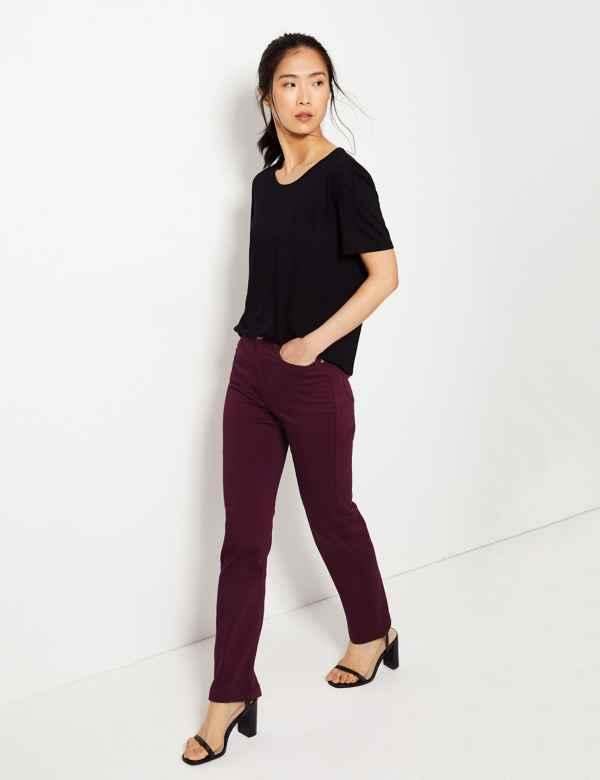 924903215aa Sateen Roma Rise Straight Leg Jeans