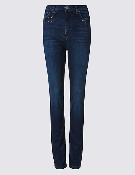 Embellished Roma Rise Slim Leg Jeans