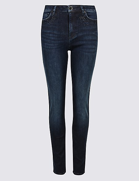 Embellished Roma Rise Skinny Jeans