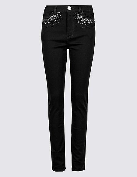 Embellished Roma Rise Skinny Jeans
