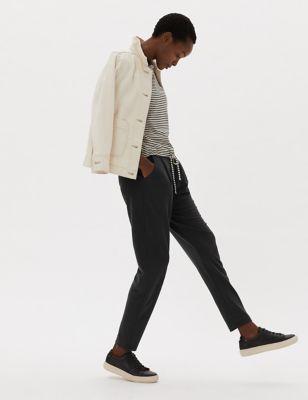 Womens M&S Collection Pantalon fuselé en jersey avec ceinture - Black