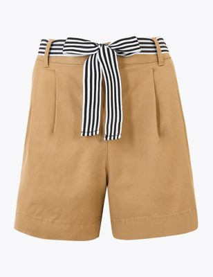 Cotton Pleat Front Chino Shorts