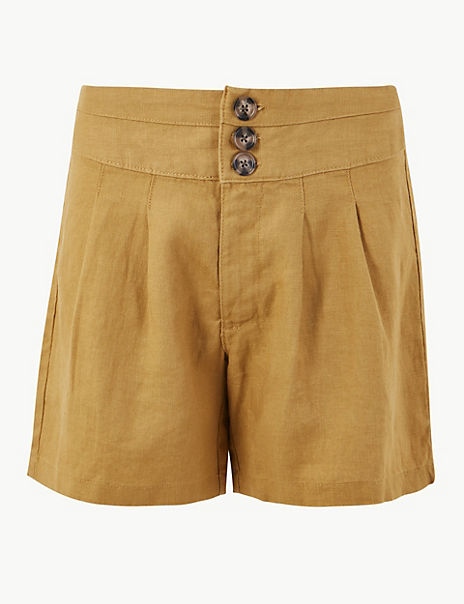 Pleated Front Pure Linen Shorts