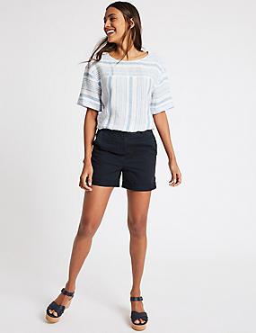 Pure Cotton Casual Shorts, NAVY, catlanding