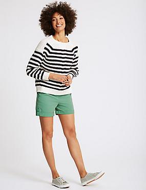 Pure Cotton Casual Shorts, GREEN, catlanding