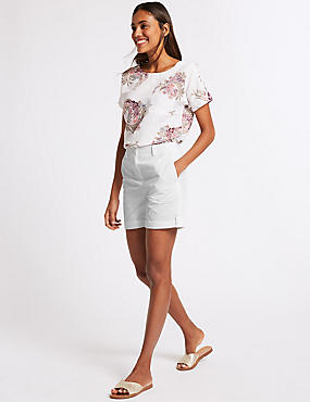 Pure Cotton Casual Shorts, SOFT WHITE, catlanding