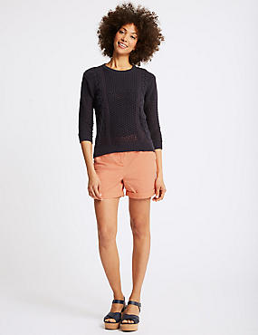 Pure Cotton Casual Shorts, MEDIUM CORAL, catlanding
