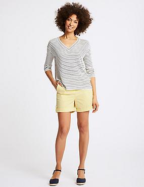 Pure Cotton Casual Shorts, YELLOW, catlanding