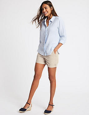 Pure Cotton Casual Shorts, OYSTER, catlanding