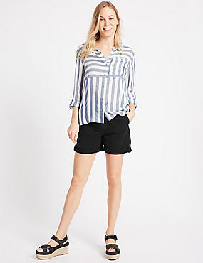 Pure Cotton Casual Shorts, BLACK, catlanding