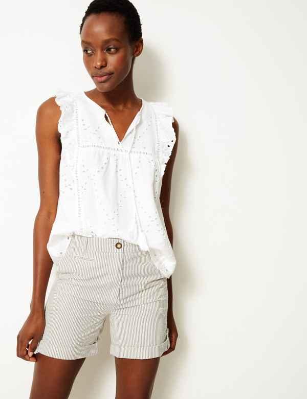 e5cca17c7aa8e Pure Cotton Striped Casual Shorts