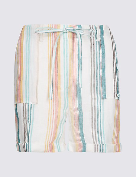 Pure Linen Striped Casual Shorts
